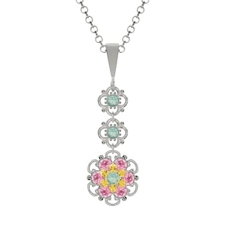Lucia Costin Silver Mint Blue Light Pink Crystal Pendant