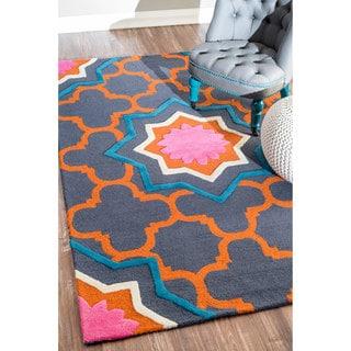 nuLOOM Handmade Modern Star Trellis Wool Multi Rug (8'6 x 11'6)