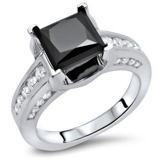 Noori Certified 14k White Gold 2 1/2ct TDW Princess Cut Black Diamond Engagement Ring (SI1-SI2)