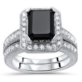 Noori 14k White Gold 2 3/4ct TDW Emerald Cut Black Diamond Engagement Ring Set (G-H, SI1-SI2)
