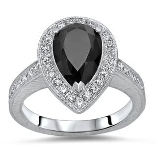 Noori Certified 14k White Gold 2 2/5ct TDW Pear Shape Black Diamond Engagement Ring (SI1-SI2)