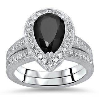Noori 14k White Gold 2 3/5ct TDW Black Pear Diamond Engagement Ring Set (G-H, SI1-SI2)