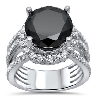 Noori Certified 14k White Gold 5 2/5ct TDW Black Diamond Halo Engagement Ring