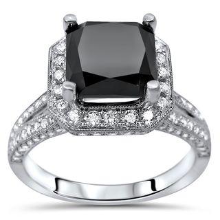 Noori Certified 18k Gold 3 1/2ct TDW Black Cushion Cut Diamond Engagement Ring (F-G, SI1-SI2)