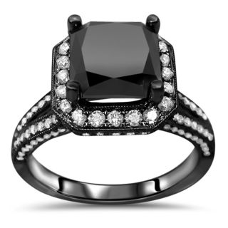 Noori Certified 18k Black Gold 3 1/2ct TDW Black Cushion Cut Diamond Engagement Ring (F-G, SI1-SI2)