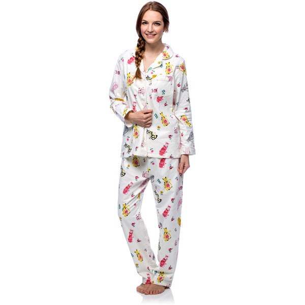 La Cera Women's Cat Print Off-White Cotton Flannel Pajama Set