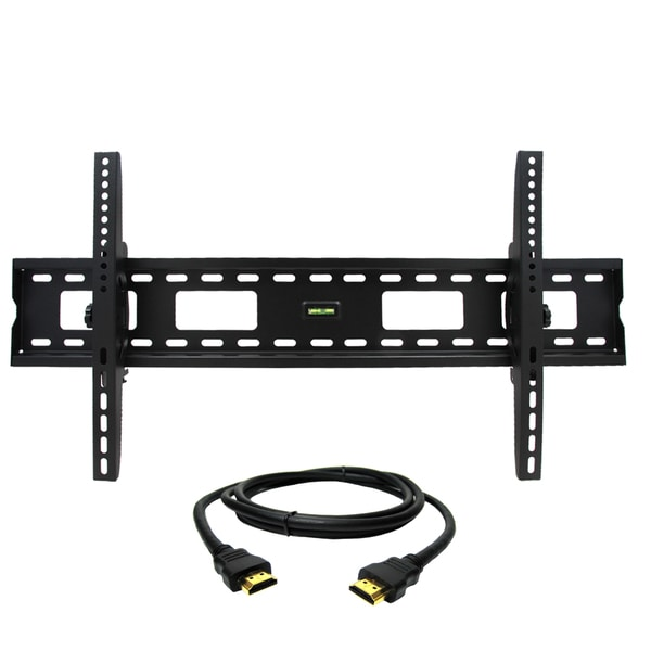 Megamounts Tilt Wall Mount with Bubble Level for 37-80-inch Displays with HDMI Cable