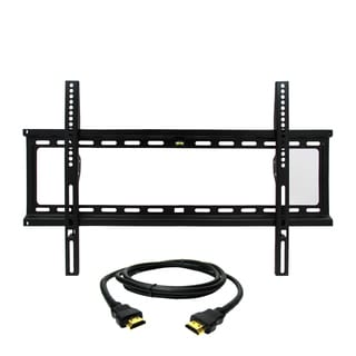MegaMounts Fixed Wall Mount with Bubble Level for 32-70-inch Displays with HDMI Cable