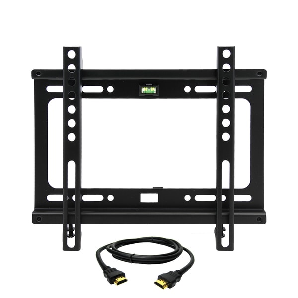 MegaMounts Fixed Wall Mount with Bubble Level for 17-42-inch Displays With HDMI Cable