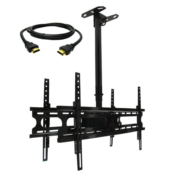MegaMounts Tilt and Swivel Ceiling Mount for two 37-70-inch Displays with HDMI Cable