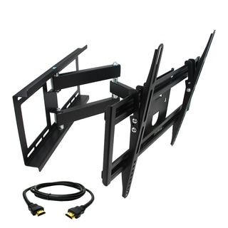 MegaMounts Full Motion Wall Mount with Bubble Level for 26-55-inch Displays with HDMI Cable