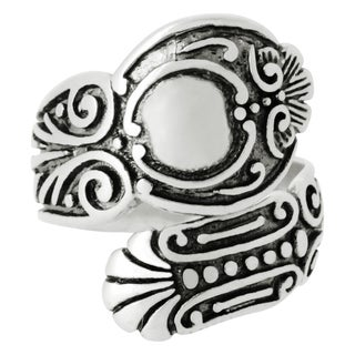 Silver-Wear Swirls Sterling Silver Antique Finish Ambient Ellipse Spoon Ring