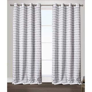 ATI Home Exclusive Home Typography Grommet Top Curtain Panel Pair