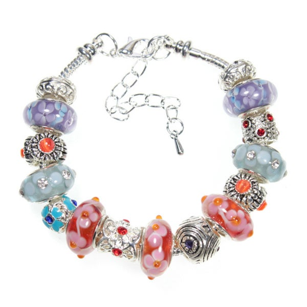 Orange Poppy Lampwork Glass Bead 18cm European Charm Bracelet