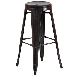 No Back Antique Metal Barstool