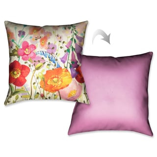 Laural Home Pink Meadow II Decorative 18-inch Throw Pillow