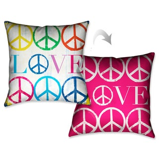 Laural Home Peace and Love Decorative 18-inch Throw Pillow