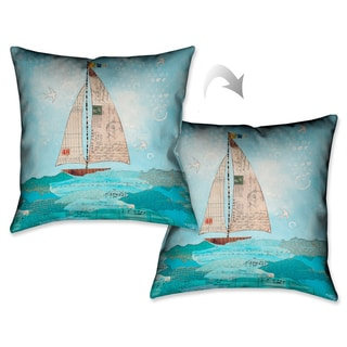 Laural Home Sailboat Notes Decorative 18-inch Throw Pillow