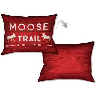 Laural Home Rustic Cabin Moose Trail Decorative Pillow 14x20