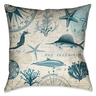 Laural Home Ocean Life Creatures Decorative 18-inch Throw Pillow