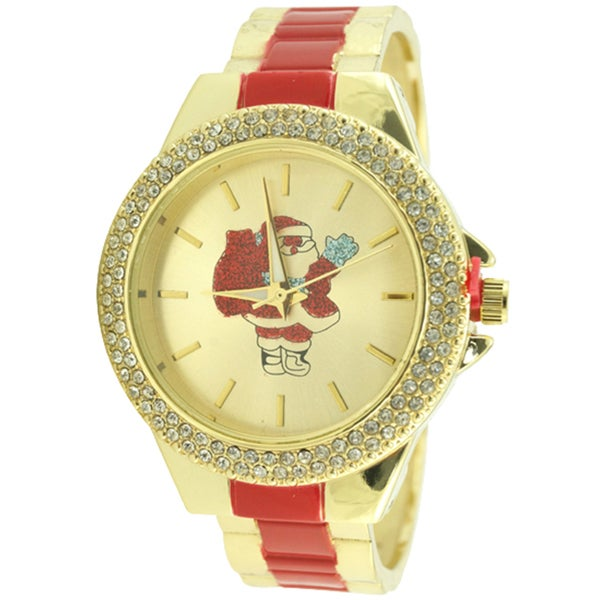 Christmas Crystal Case Metal Bracelet Round Gold Dial Watch