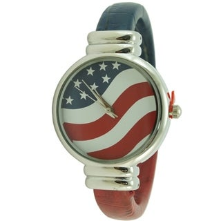 Patriotic American Flag Watch Round Case Flag Dial Cuff Watch