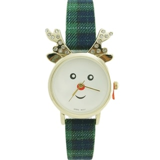 Christmas Reindeer Watch with Crystal Antlars Faux Leather Band