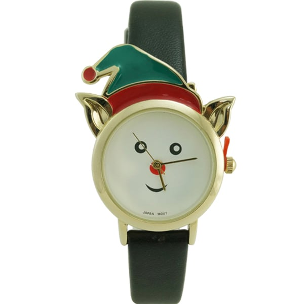 Christmas Elf Black Faux Leather Strap Watch