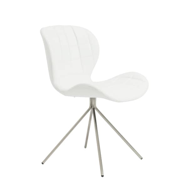 Valene White/ Brush Stainless Steel Side Chairs (Set of 2)