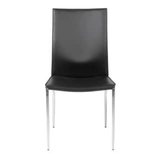 Max Black Leather/ Chrome Side Chairs (Set of 2)