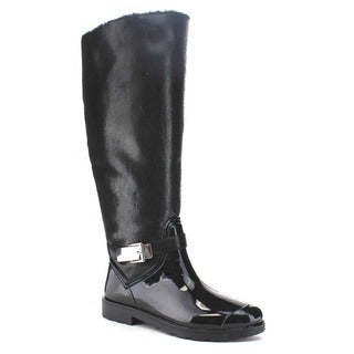 Beston BA25 Women Buckle Strap Deco Faux Fur Lining Knee High Trendy Rain Boots