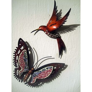 Glass Mosaic Metal Butterfly and Hummingbird Wall Art Set (Mexico)