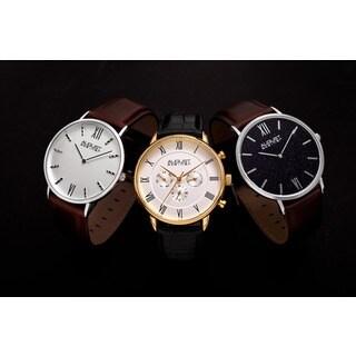 August Steiner Men's Classic Japanese Quartz Leather Strap Watch