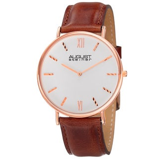 August Steiner Men's Classic Quartz Leather Rose-Tone Strap Watch