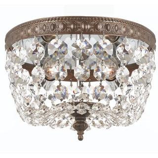 Crystorama Traditional 2-light Clear Crystal/ English Bronze Flush Mount