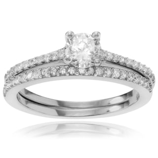 Journee Collection Sterling Silver Cubic Zirconia Bridal Ring Set