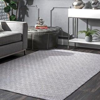 nuLOOM Handmade Flatweave Diamond Grey Cotton Rug (9' x 12')