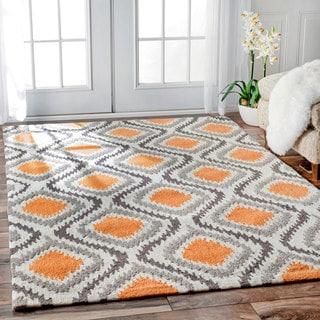 nuLOOM Handmade Modern Ikat Trellis Orange Rug (8'6 x 11'6)