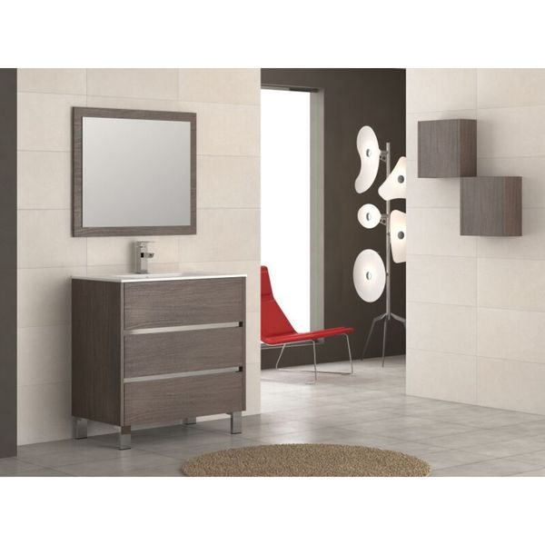 "Eviva Escorpio 32"" Medium Oak Modern Bathroom Vanity Wall Mount with White Integrated Porcelain Sink"