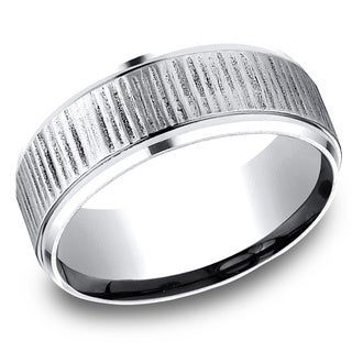 Men's 8MM Cobalt Ring with Beveled Edges and Textured Vertical Cuts