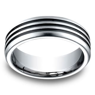 Men's 7.5MM Cobalt Ring with Three Blackened Channels