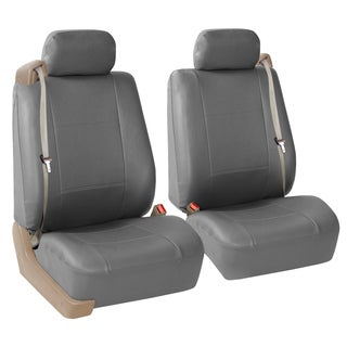 FH Group Solid Gray PU Leather Bucket Seat Covers with Side Zipper (Set of 2)