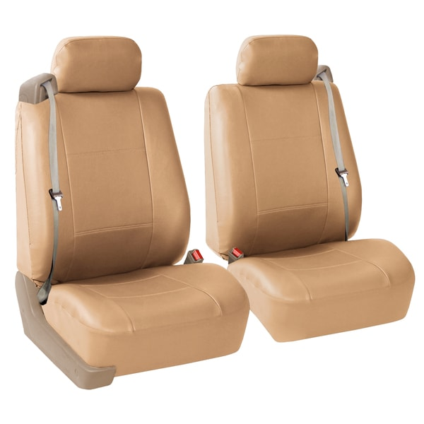 FH Group Tan PU Leather Bucket Seat Covers with Side Zipper (Set of 2)