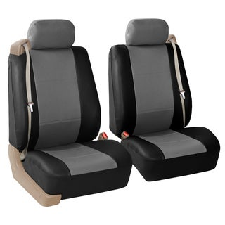 FH Group Gray and Black PU Leather Bucket Seat Covers with Side Zipper (Set of 2)