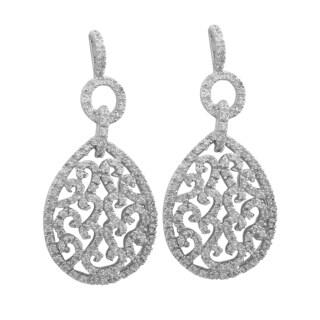 Sterling Silver Pave Cubic Zirconia Filigree Teardrop Dangle Earrings