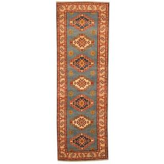 Herat Oriental Afghan Hand-knotted Tribal Kazak Blue/ Ivory Wool Runner (2' x 6')