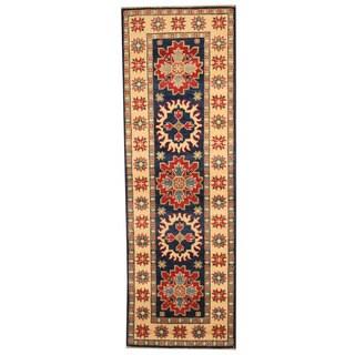 Herat Oriental Afghan Hand-knotted Tribal Kazak Navy/ Ivory Wool Runner (2' x 6')