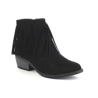 Beston Women's Side Zip Low Heel Fringe Ankle Booties