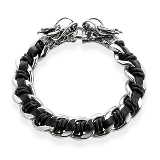 Crucible Stainless Steel Black Leather Curb Chain Bracelet with Dragon Heads - 9 inches (16 mm)