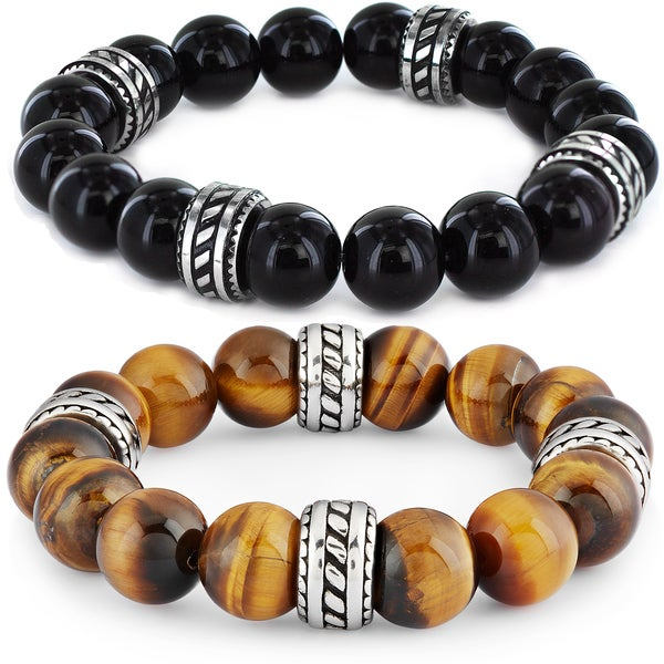 Crucible Stainless Steel Tiger Eye / Black Onyx Beads Tribal Stretch Bracelet - 8 inches (12 mm)